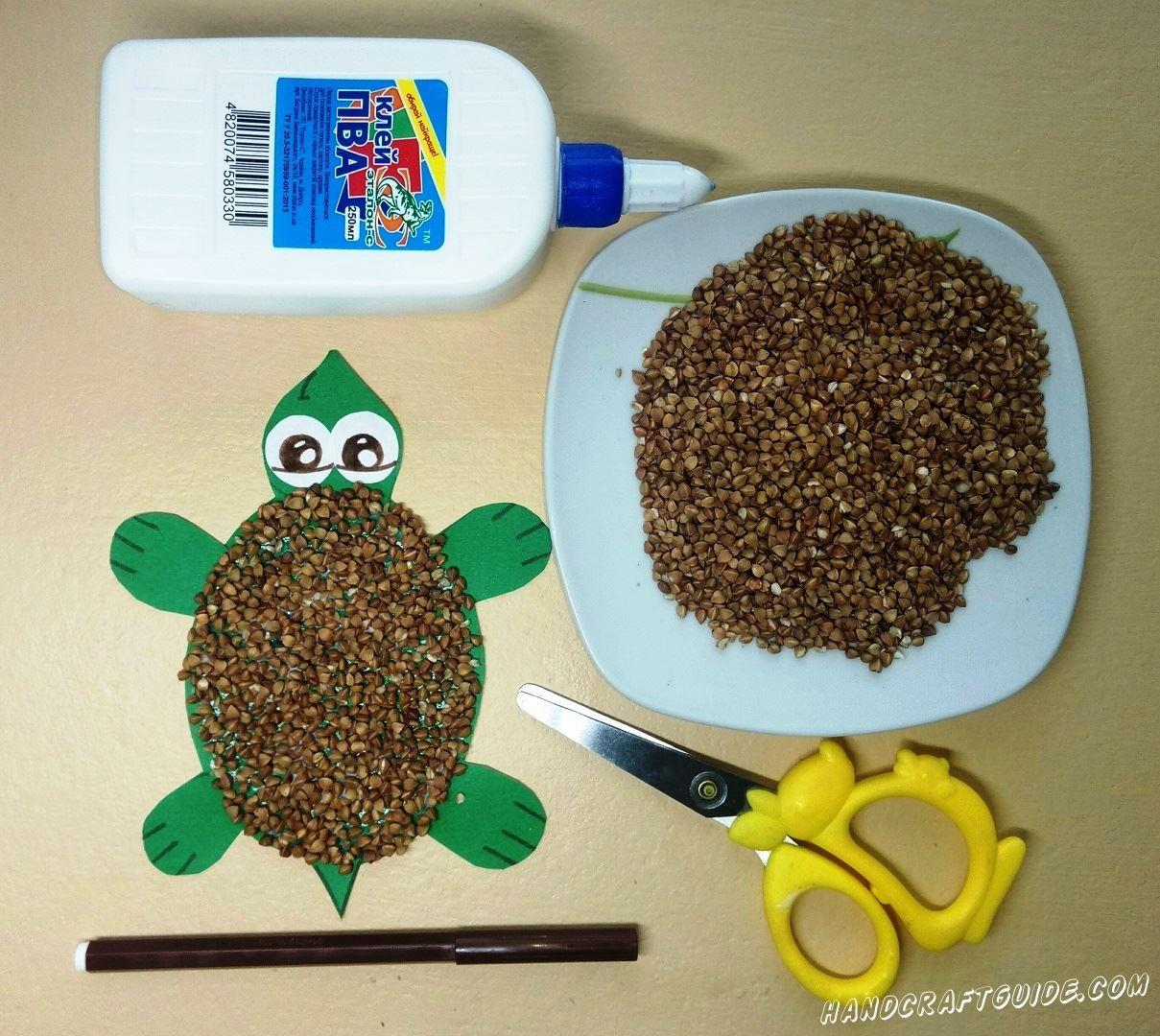 поделка черепахи для детей из гречки