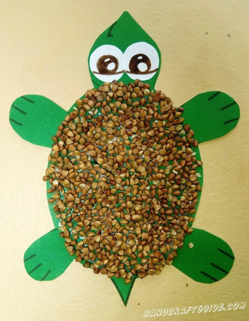 черепаха своими руками из гречки и бумаги