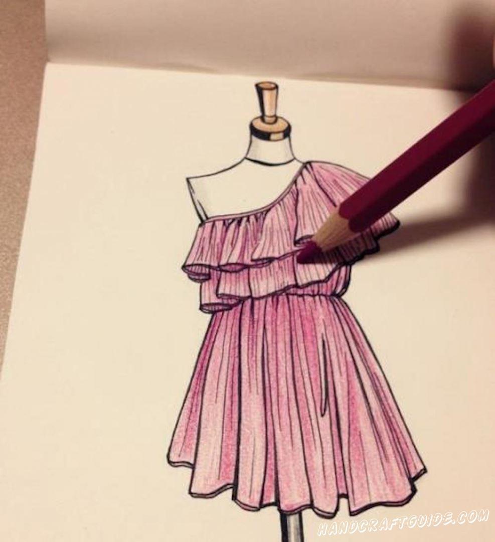 рисунок платье для срисовки