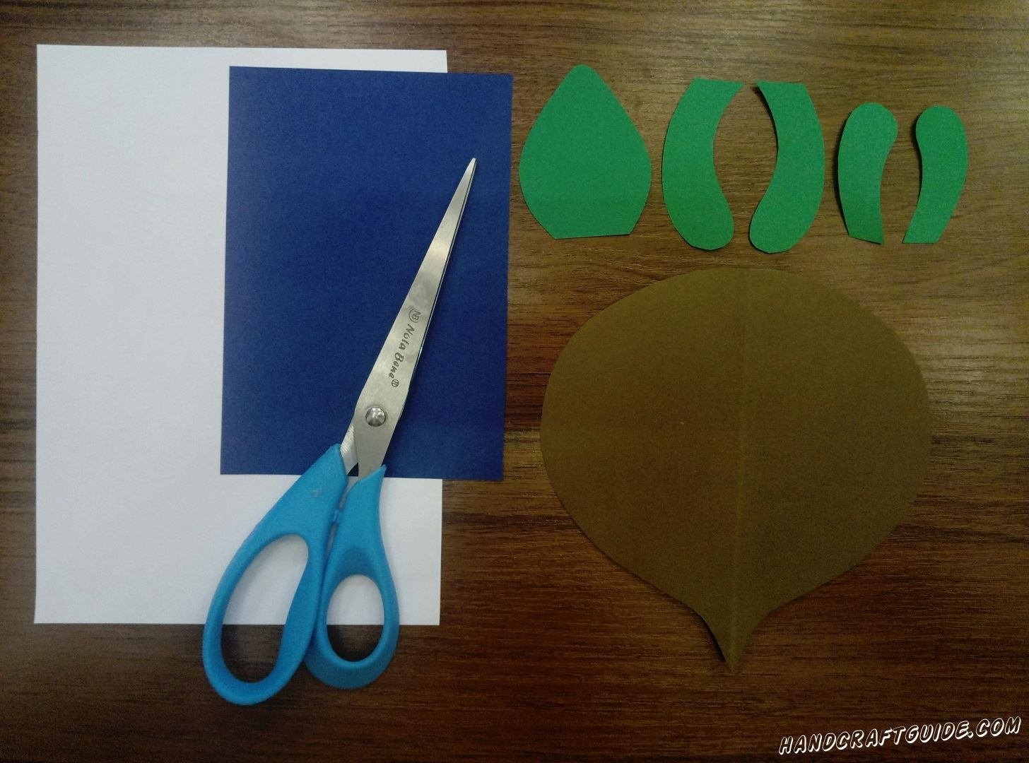 First, let's take brown paper and cut out a circle with a small sprout, it looks like a beetroot :) Then from the green paper cut out 4 rounded stripes for paws and one piece for head which resembls a strawberry.