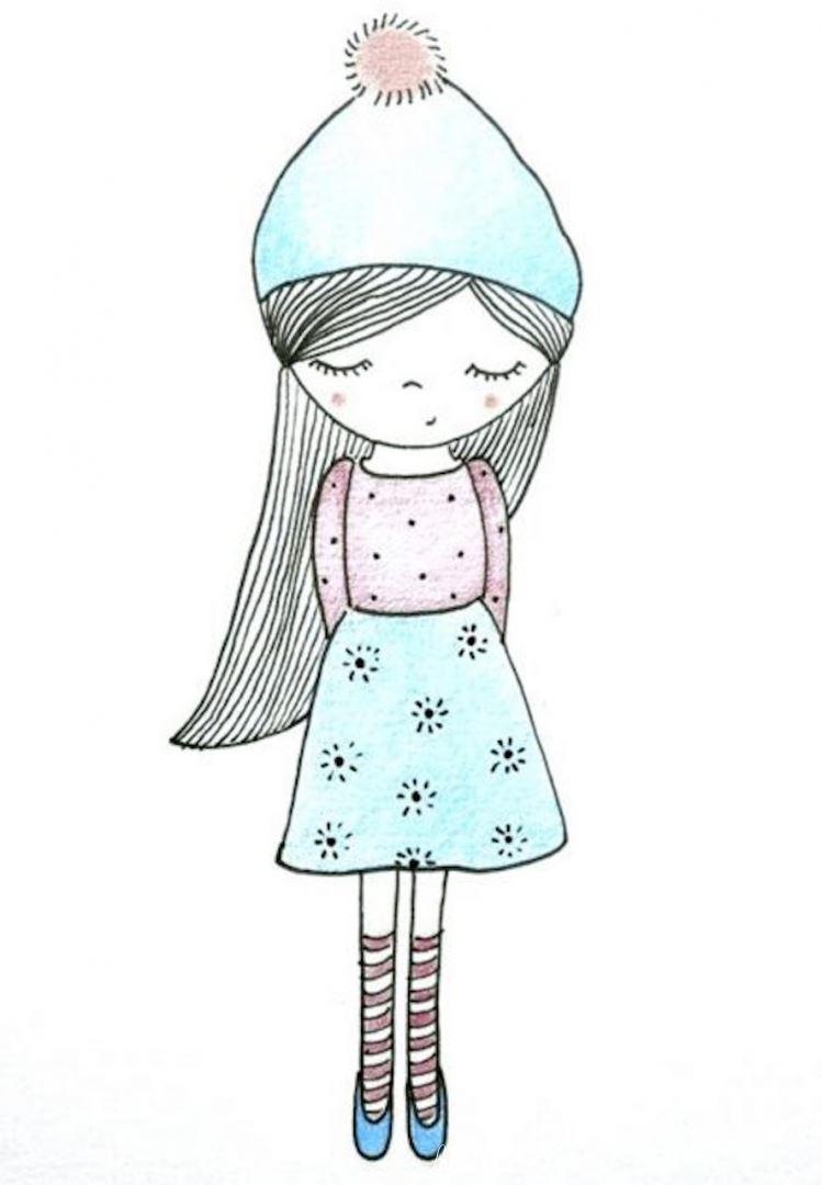 рисунок милой девочки для альбома