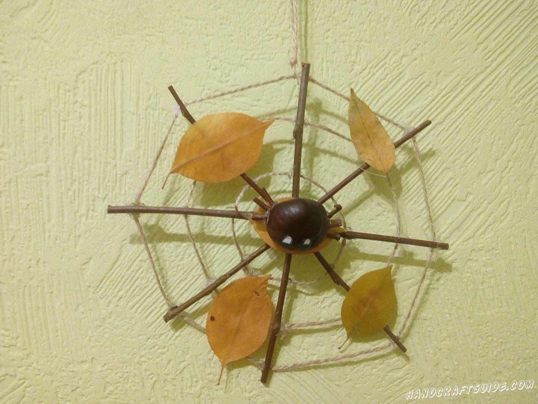 Поделка паук на паутине из природного материала фото
