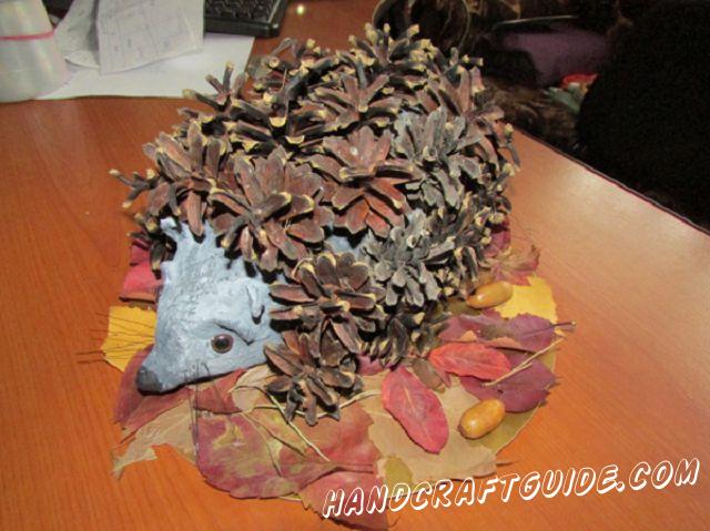 Little hedgehog made of natural materials