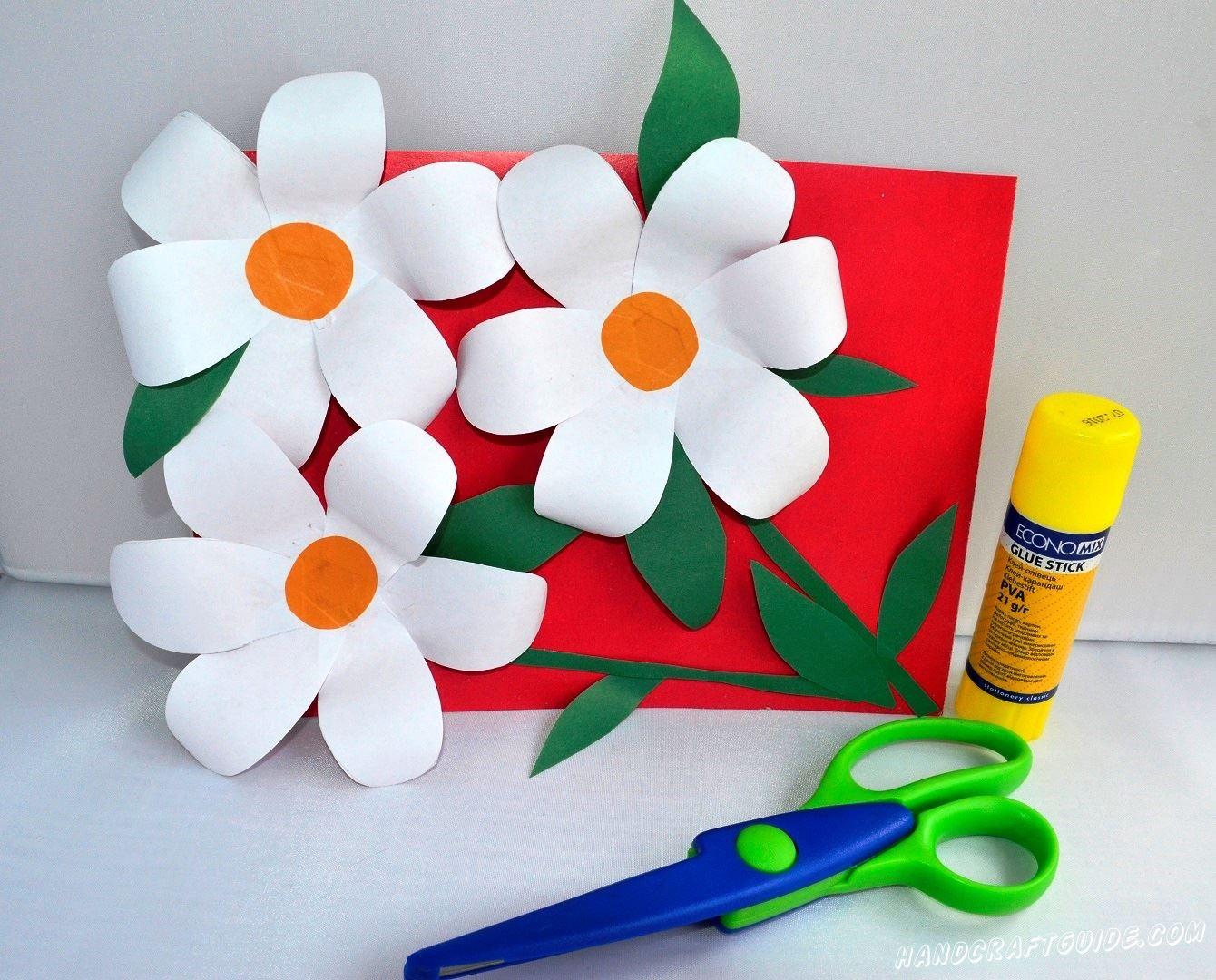3d аппликация цветов из цветной бумаги