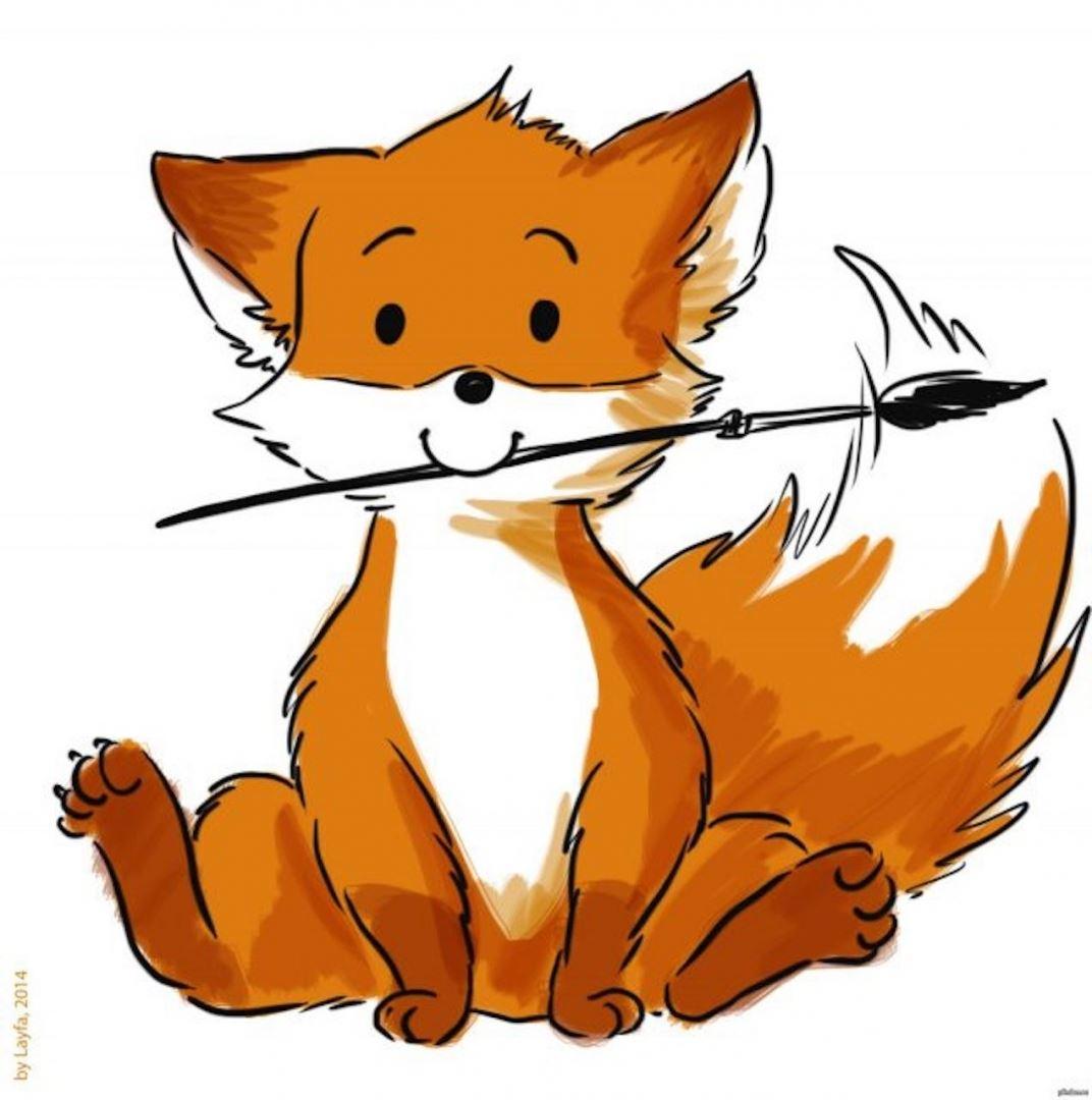 срисовка лиса для скетчбука