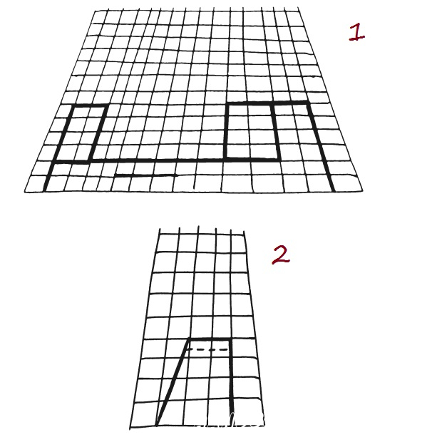 First you need to draw a draft. Take a sheet of paper and bend it in half. We will draw on the folding line of paper. From the left side put a dot and measure from it 13 cm to the right and put a second dot. Draw a line 2 cm up from each dot. Connect the lines together. You will get a large rectangle.This is the body of our plane. Measure 4 cm from the left side in the middle of the plane body. Set the point and draw a line 2.5 cm to the right. This is the line where later we will insert the wings.