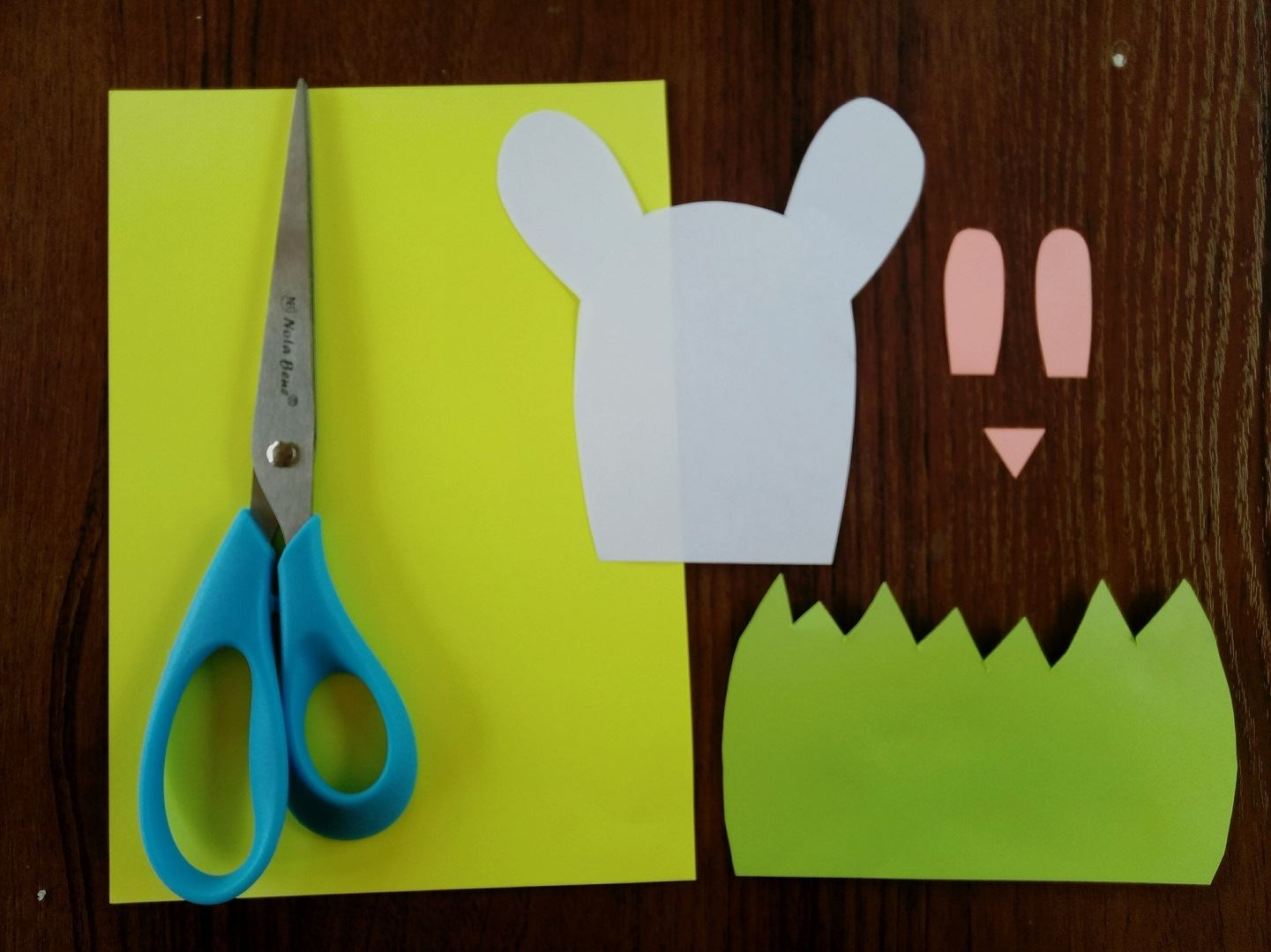 First, cut out the green grass from the grass in which our bunny will sit. Then from white paper, we cut out the head with long ears and a pink nose and small ears.