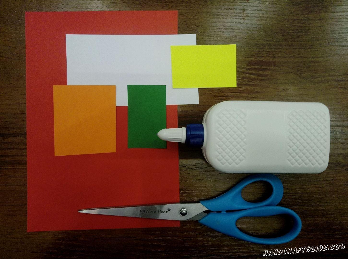 Для этого нам нужно: Цветная бумага: красная, белая, желтая , зелёную, оранжевая Ножницы Клей ПВА Фломастер