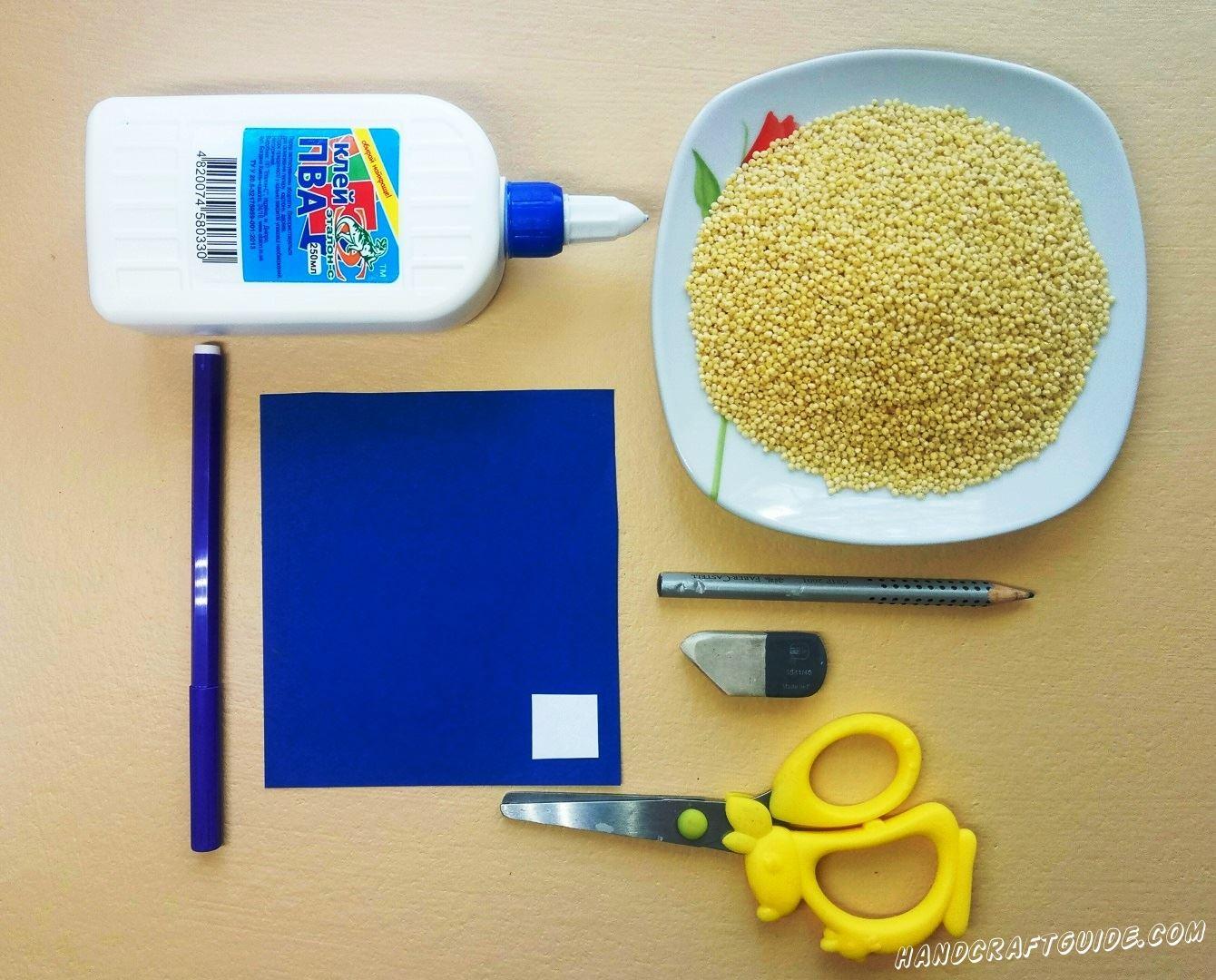 аппликация из пшеничной крупы