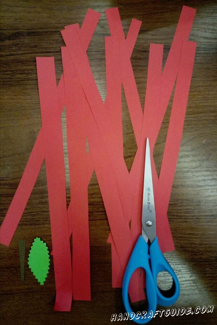 First we cut out a bunch of long red stripes, a green petal and a brown pod.
