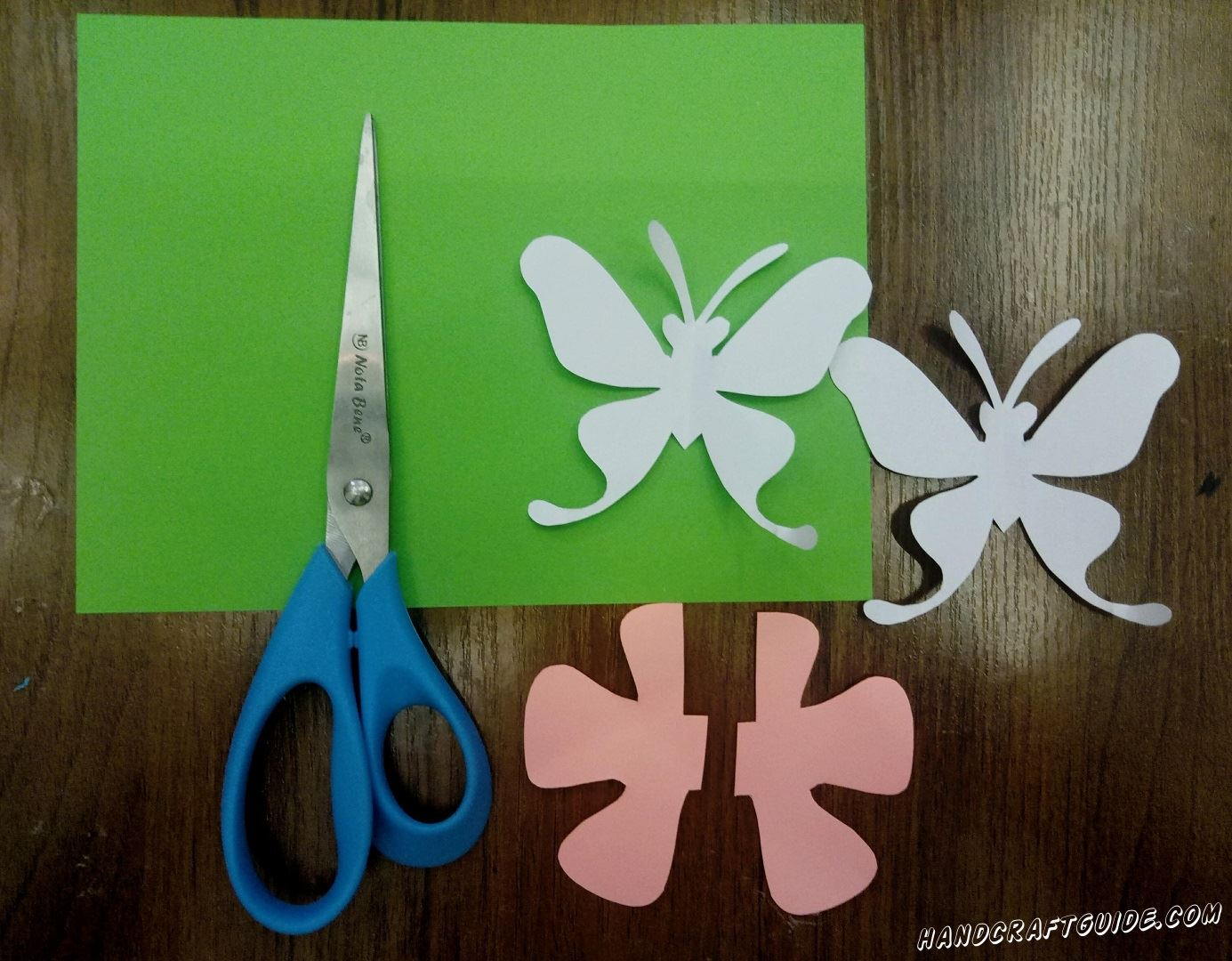 We cut out 2 butterflies from white paper. Then 2 pieces of a flower from pink.