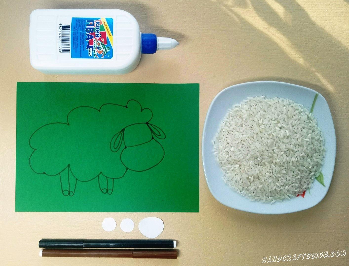 барашек из риса аппликация