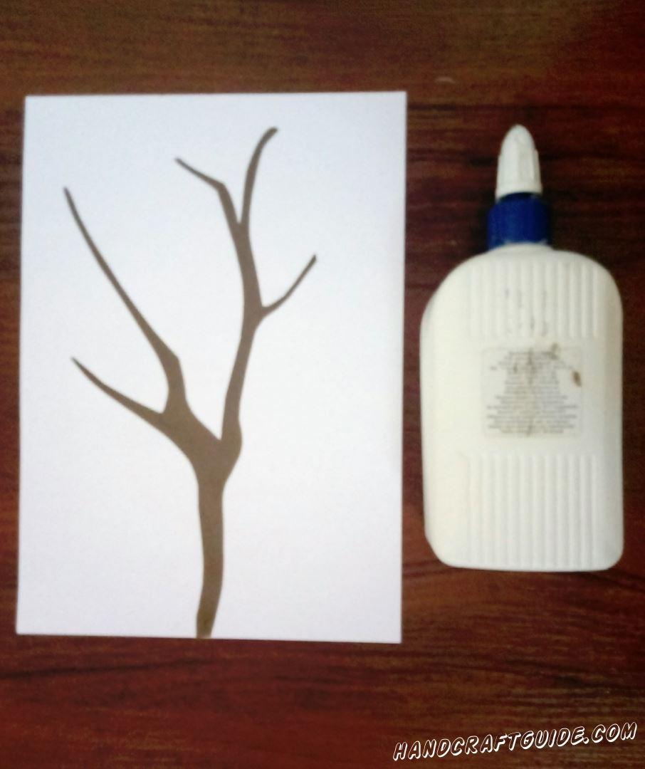 аппликация дерева из бумаги