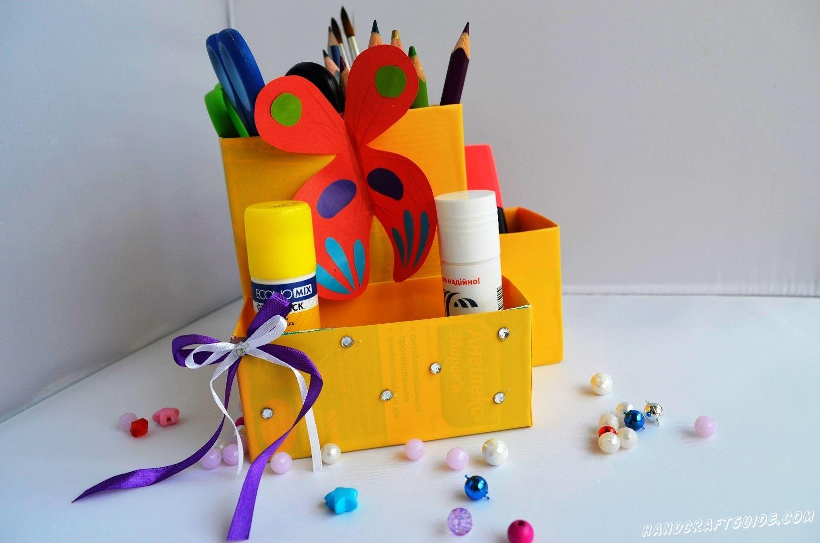 подставка для карандашей из коробок поделка