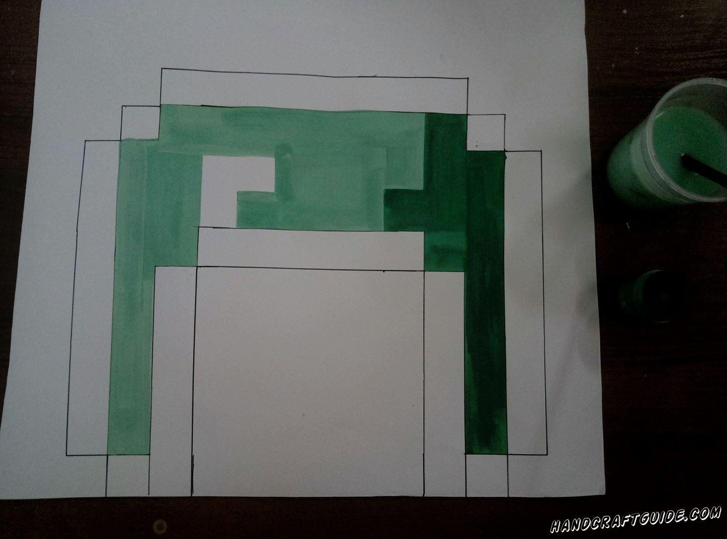 Добавляем тёмно-зелёную краску с другой стороны