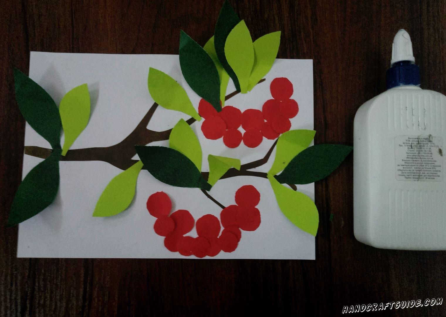 аппликация из цветной бумаги калина