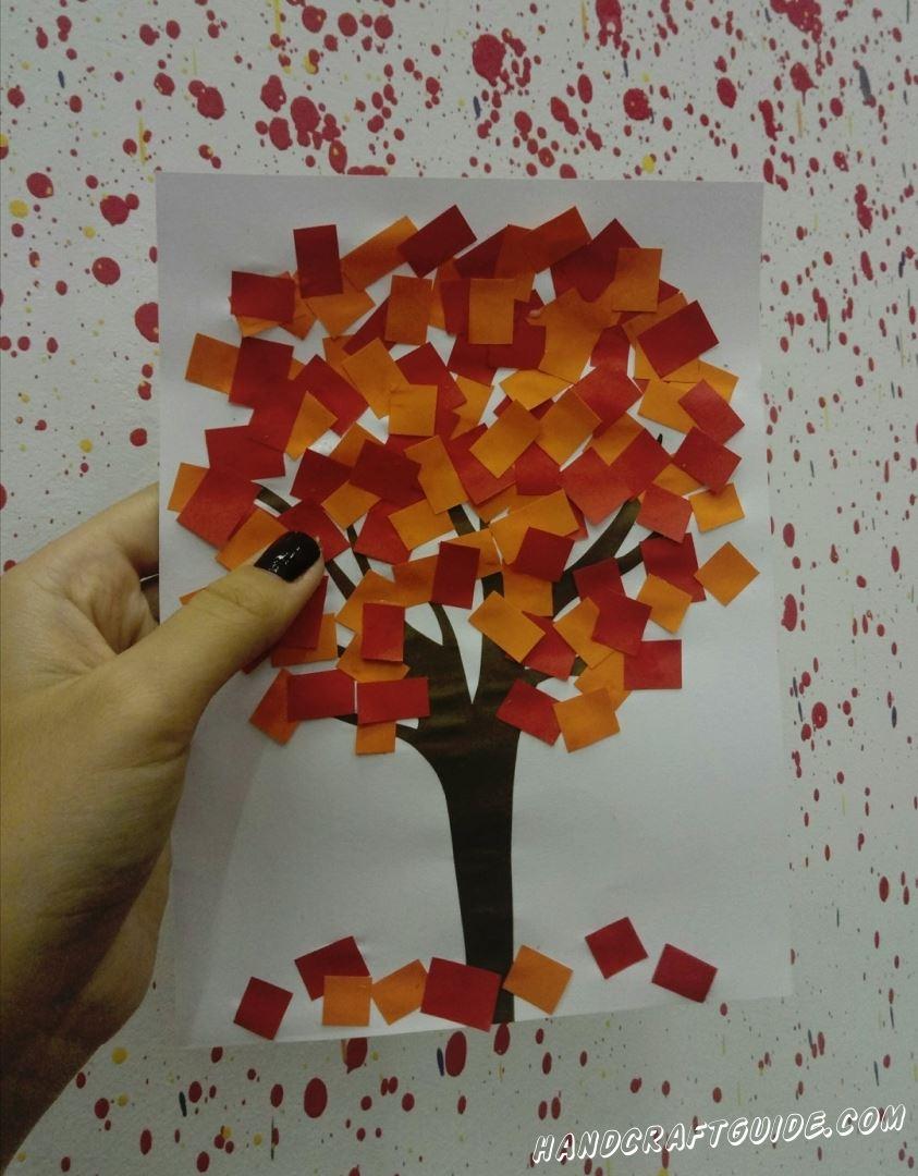 аппликация осеннего дерева для детей из бумаги