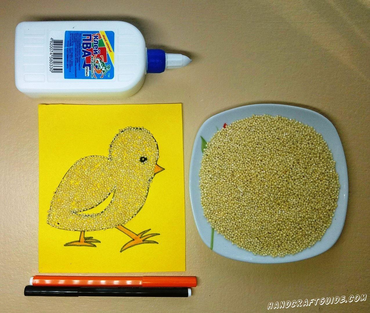 поделка цыплёнок из крупы для детей