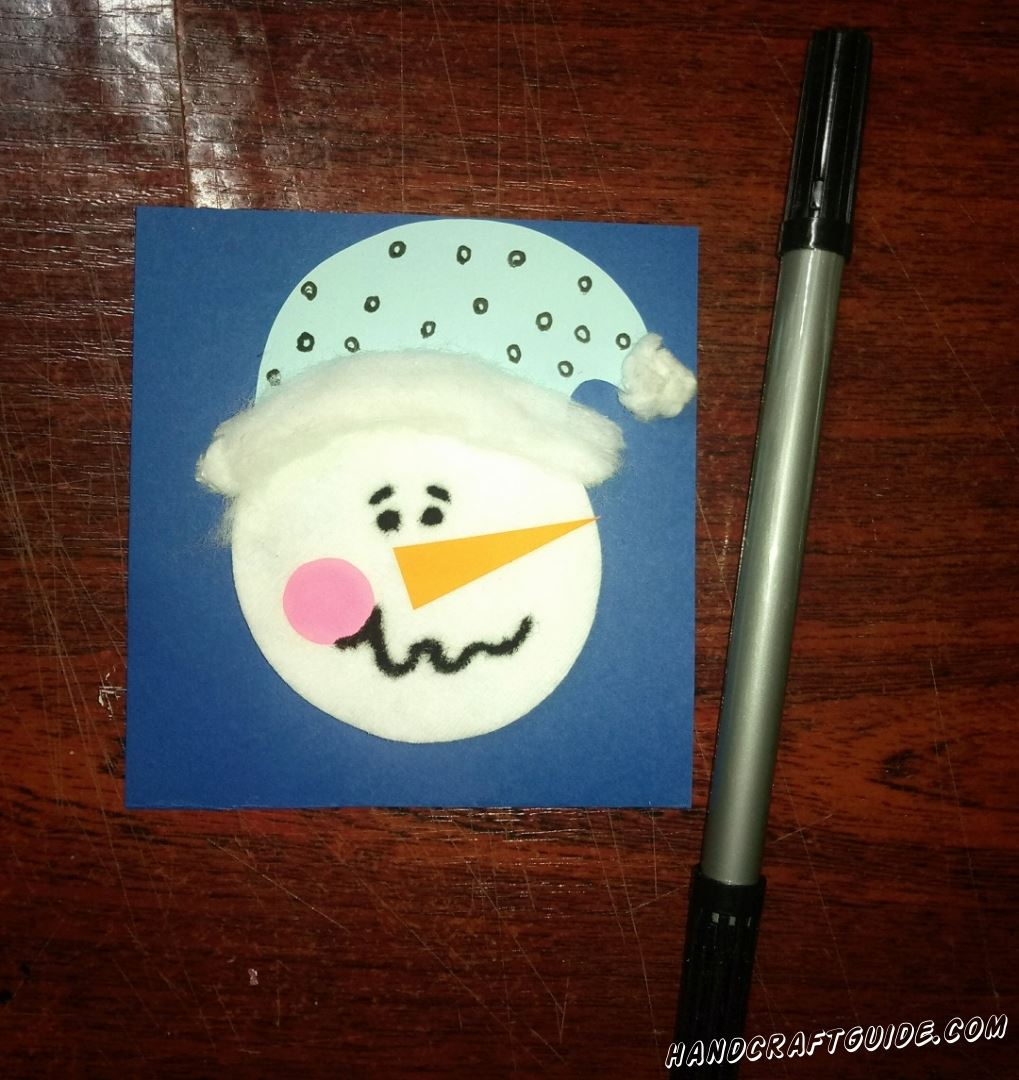 аппликация портрет снеговика из ватного диска