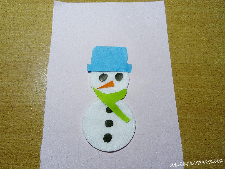 новогодняя аппликация снеговик из ватных дисков