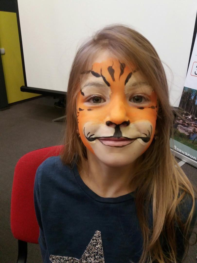 детский аквагрим тигр
