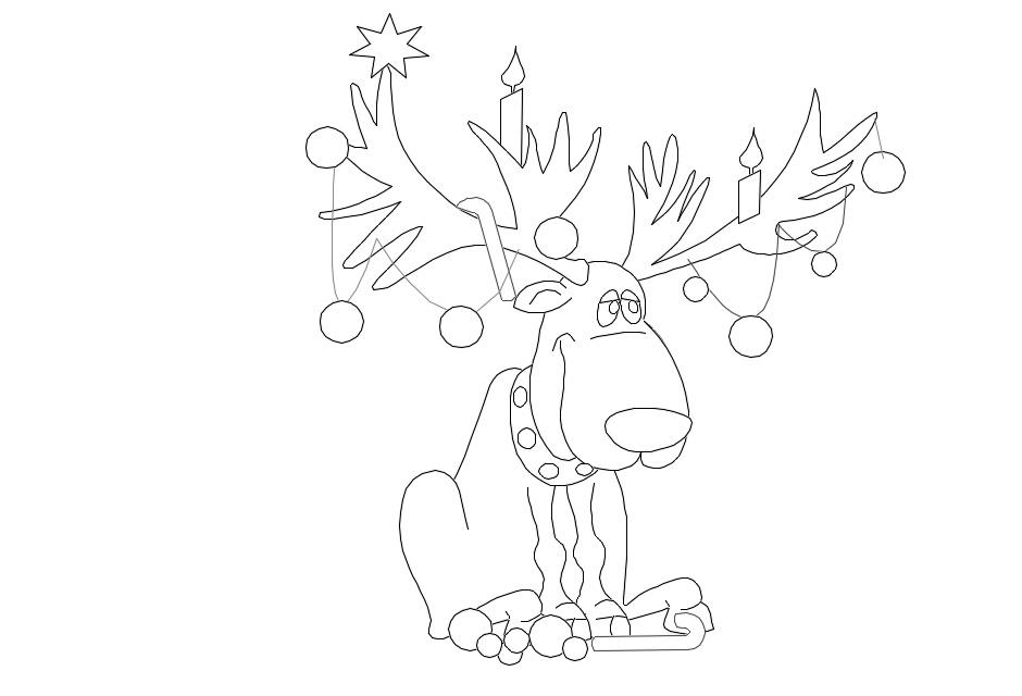 рождественский олень раскраски
