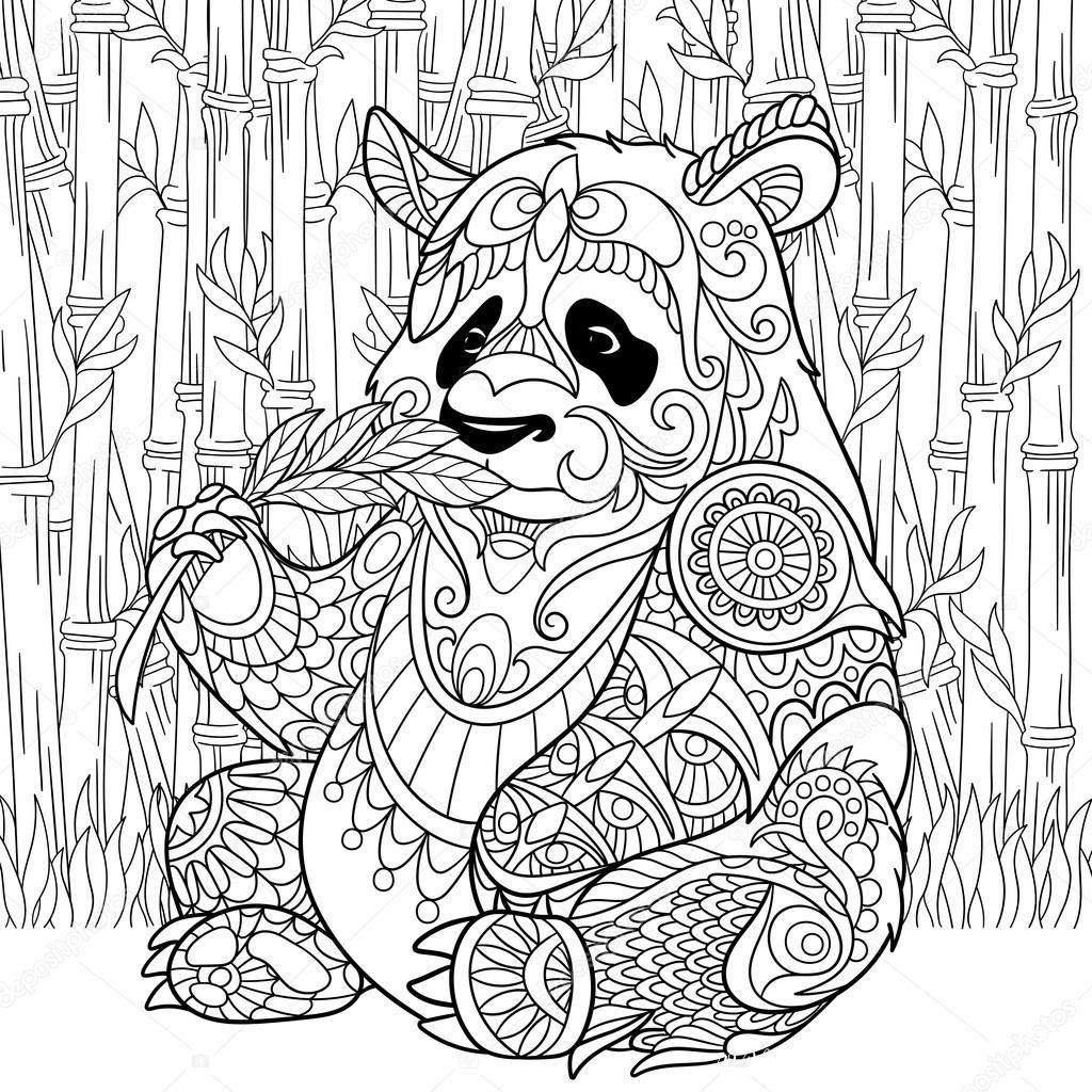 бесплатные раскраски антистресс панда