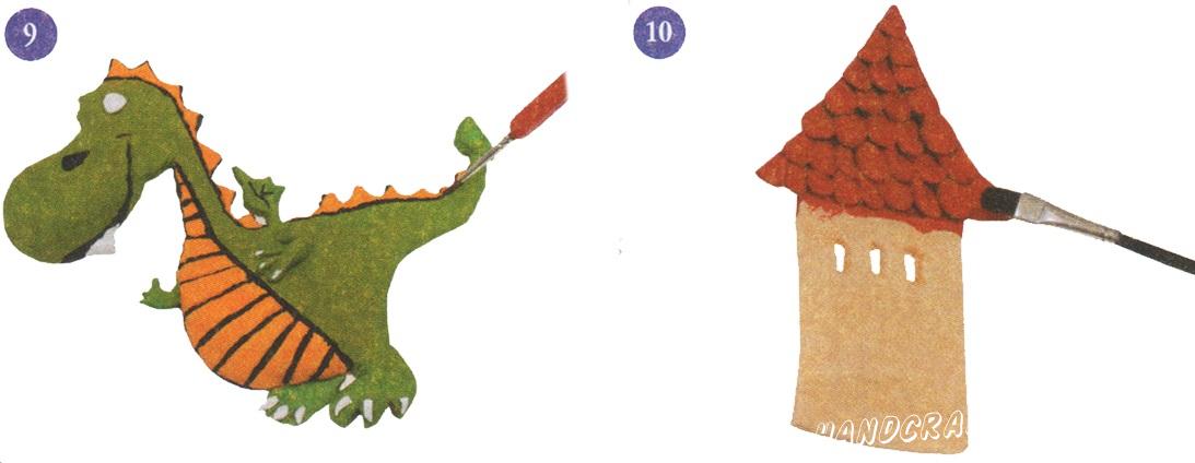 9. Окрасьте живот и гребень дракончика в оранжевый цвет. 10. Остальное туловище дракончика окрасьте в зеленый цвет.