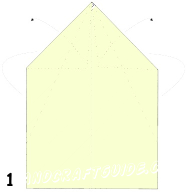Paper positioned vertically on a table, fold it in half longitudinally, smoothly fold by arm to indicate the axial center line. Then deploy. As in many previous models, it is necessary to wrap up the two upper corners of the paper sheet to the center to make a triangle. Then turn the workpiece to the other side (Fig. 1).