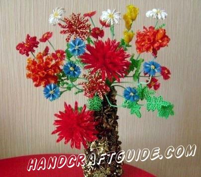 поделка цветы из макарон
