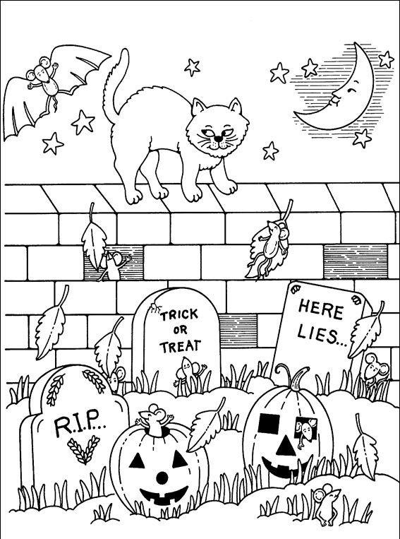 раскраска хэллоуин детям