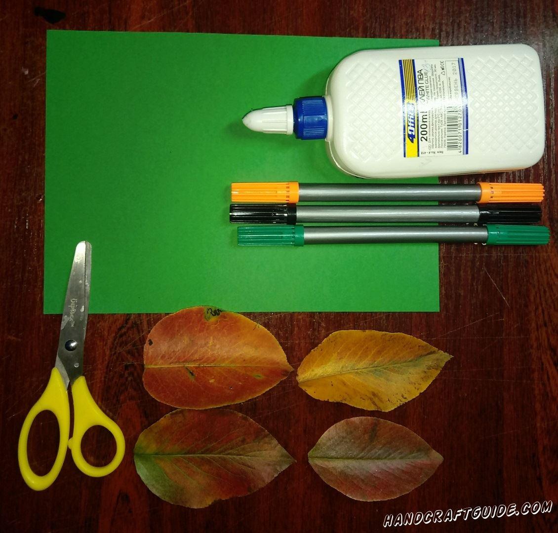 аппликация из осенних листьев