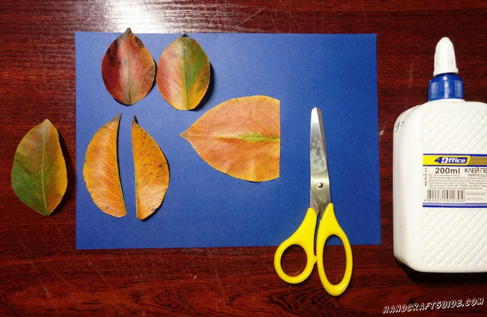 аппликация из осенних листьев очень просто