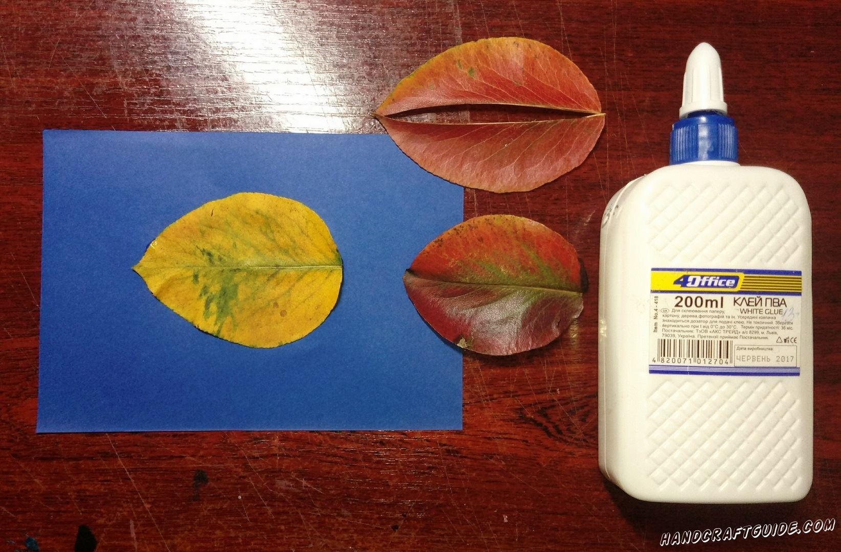 аппликация из листьев осенняя