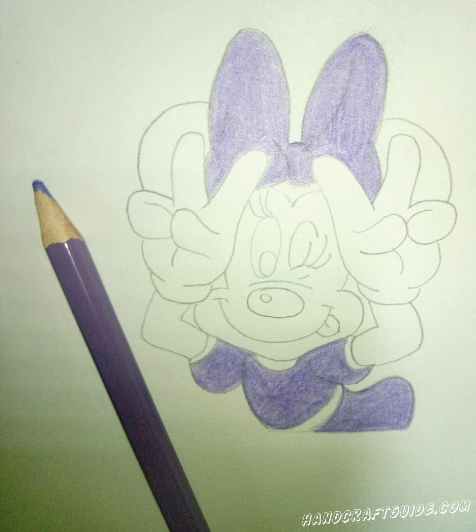 как легко нарисовать минни маус карандашами