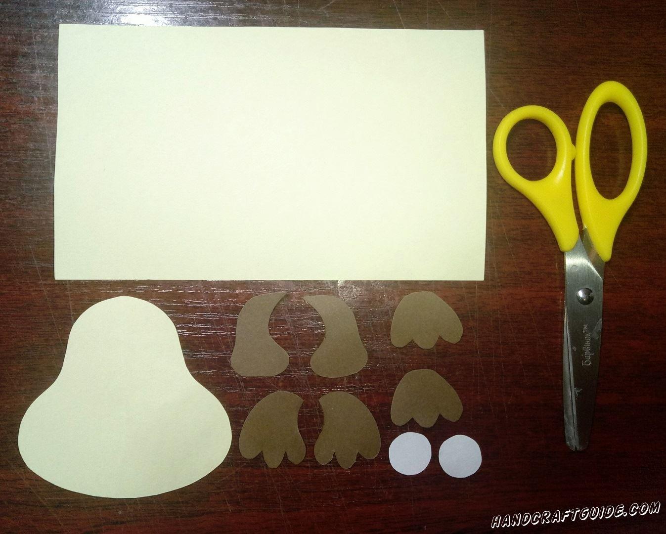 поделка собачки из бумаги
