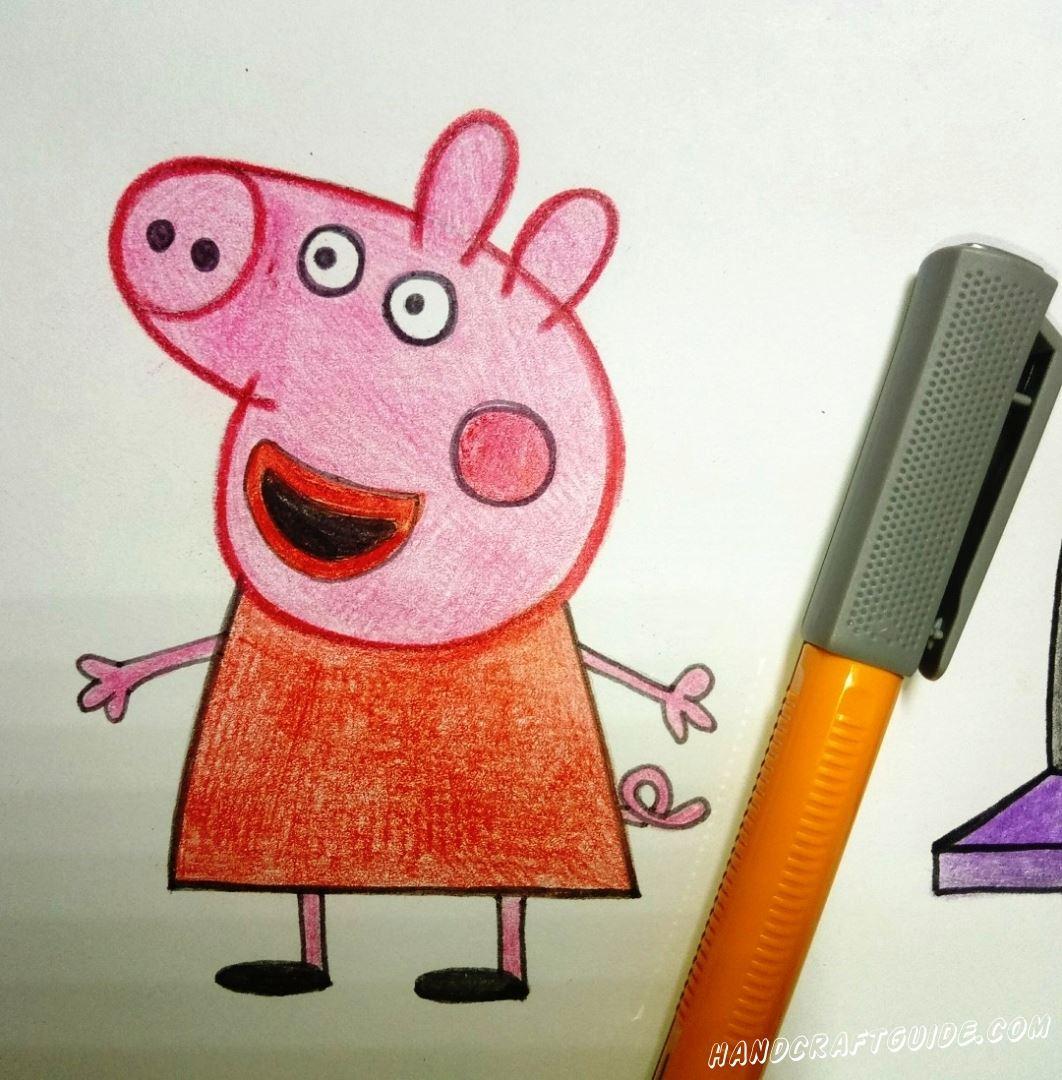 пошаговый рисунок свинка пеппа