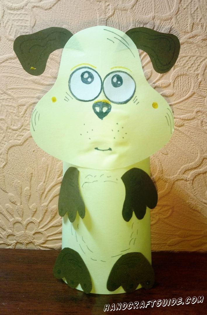 бумажная игрушка собачки из цветной бумаги