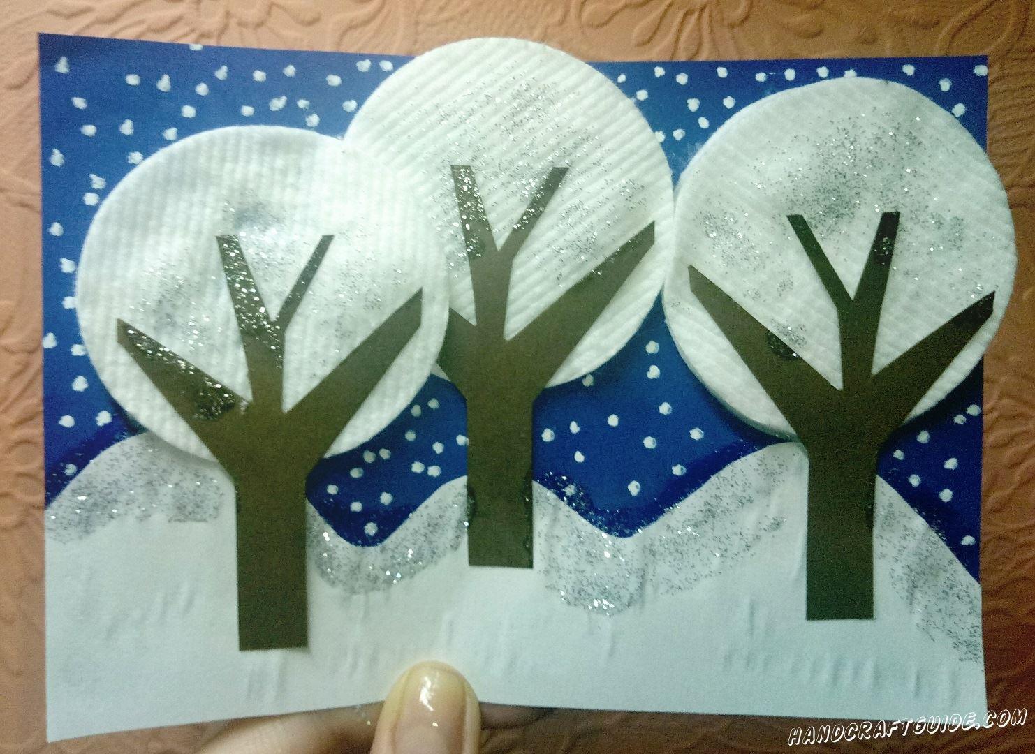 поделка зимний лес для детей