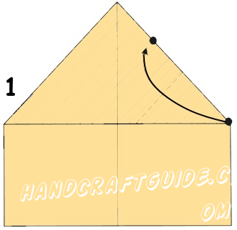 Paper must be placed vertically on the table, to the short side currently. Fold it in half in the longitudinal direction, smooth fold it by hand to outline the central axis line. Then fold the top right corner so that the upper section of the sheet coincides with its side. Do exactly the same to the second angle (Fig. 1).