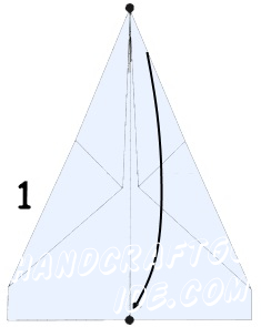 Paper positioned vertically on a table, then fold it in half longitudinally smooth hand to indicate the bend, expand the paper.Lay the two upper corners of the sheet so that the top section of the sheet on each side located on the center line. As a result, the top of the sheet should form a triangle.While working on the next step, you need to flip the sheet of paper back side up. Then bend the upper edge, without revealing previously laid folded corners and lining the edge of the workpiece with acute centra