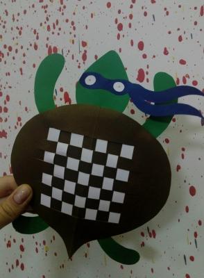 Поделка из цветной бумаги для детей в школу своими руками, черепашка ниндзя для мальчиков