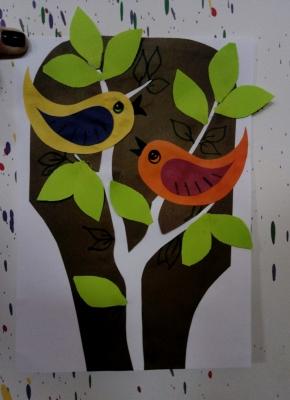 Укрась свою комнату картиной с птицами из цветной бумаги