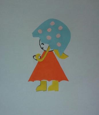 Милую девочку в красивом красном платьишке и с зонтиком, мы сделаем сейчас из цветной бумаги