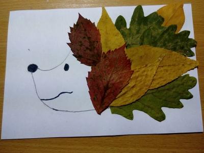ёжик из осенних листьев своими руками