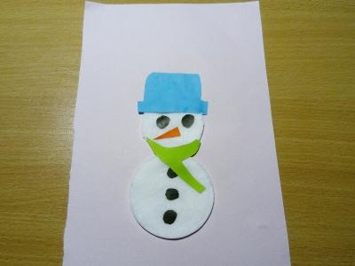 снеговик из ватных дисков сделанный своими руками