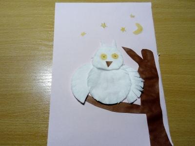 аппликация совы из ватных дисков и бумаги для детей