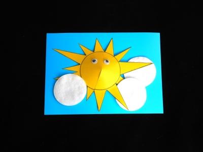 Солнышко герой объёмной аппликации из цветного картона