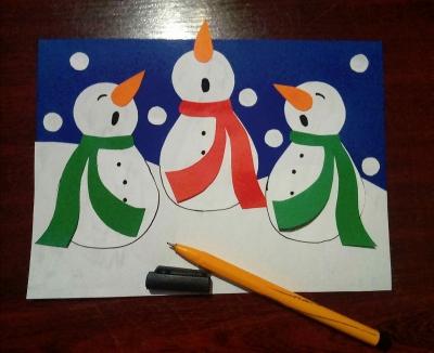 новогодняя аппликация хор снеговиков из бумаги своими руками для детей