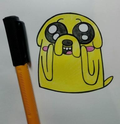 """Учимся рисовать Джейка, из мультфильма """"Время приключений""""!   Повторяйте все картинки на своей бумаге и становитесь отличным художником."""
